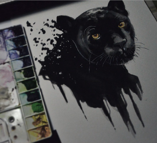 638x582 Black Panther . Media Watercolor(Alpha) On 300gsm Watercolor