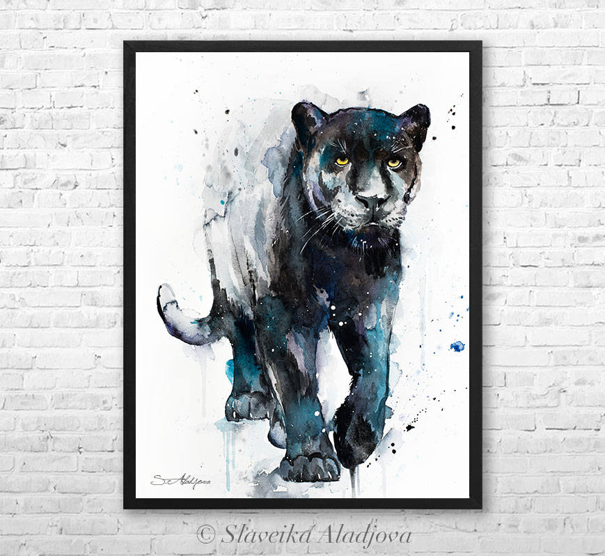 869x799 Black Panther Aquarell Leinwand Von Slaveika Aladjova Etsy