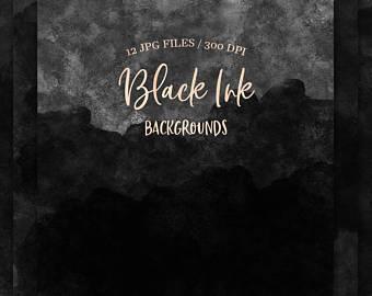 340x270 Black Watercolor Etsy