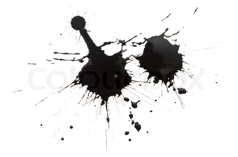 800x531 Black Watercolor Blob, Isolated On White Stock Photo Colourbox