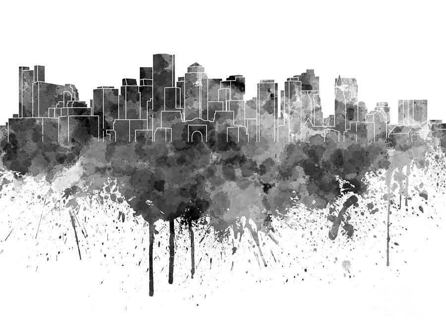 900x675 Boston Skyline In Black Watercolor On White Background Painting By