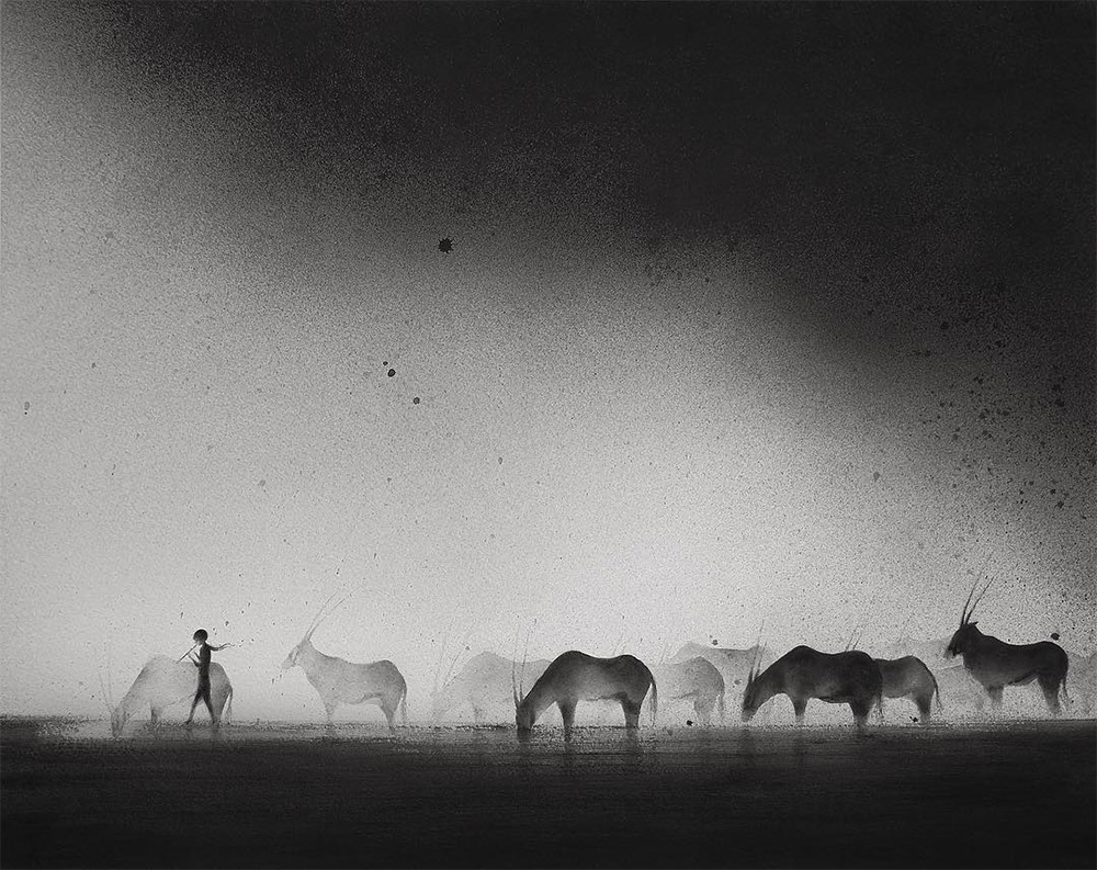 1000x793 Hazy Black Watercolor Paintings Of Children With Animals Colossal