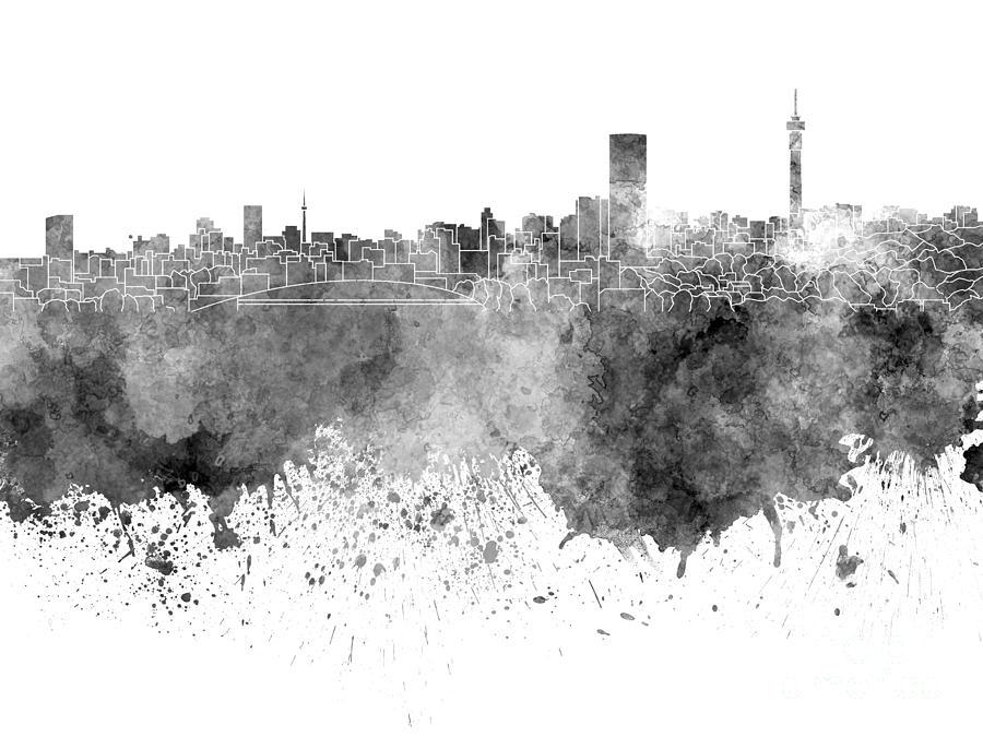900x675 Johannesburg Skyline In Black Watercolor On White Background