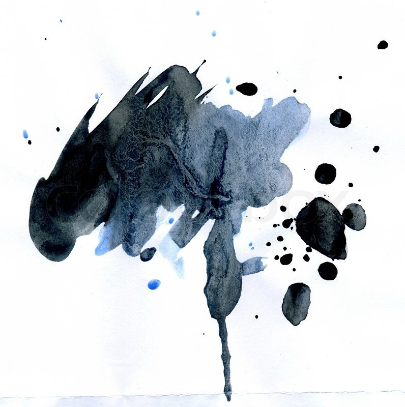 796x800 Abstract Watercolor Spot Of Blue And Black Colors As Background