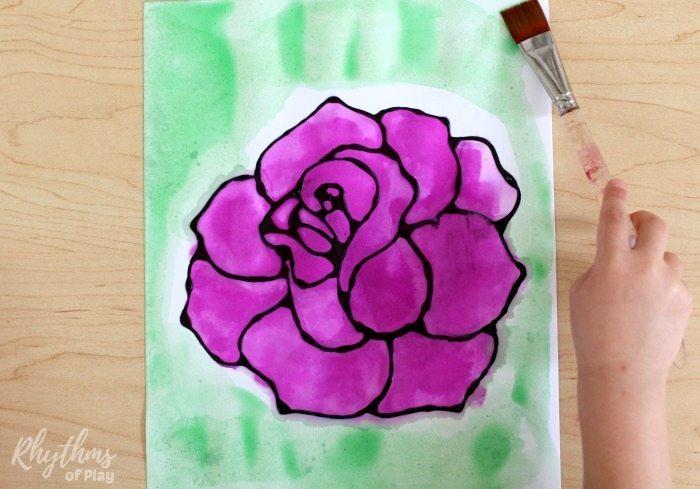 700x489 Black Glue Rose Watercolor Resist Art Project Rhythms Of Play