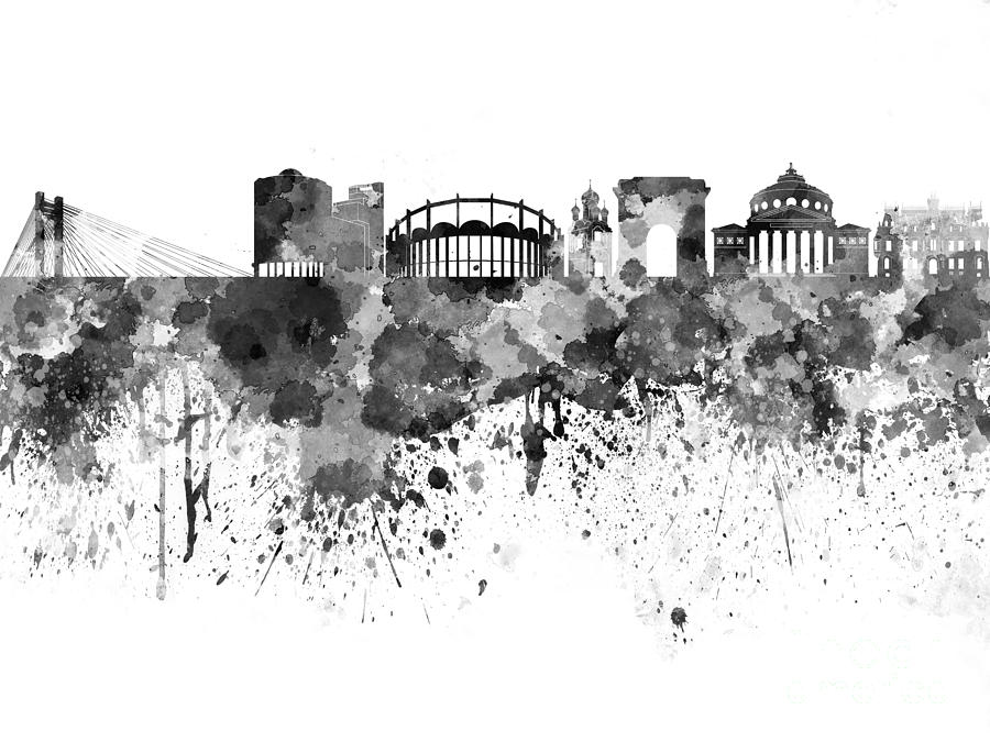 900x675 Bucharest Skyline In Black Watercolor On White Background Painting