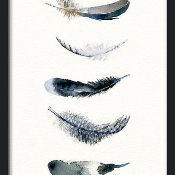 354x354 Feather Watercolor Art