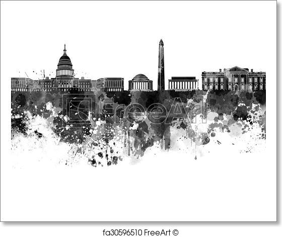 560x470 Free Art Print Of Washington Dc Skyline In Black Watercolor