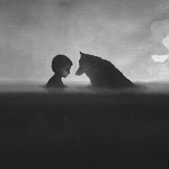700x700 Poetic Black And White Watercolors Of Children With Wild Animals
