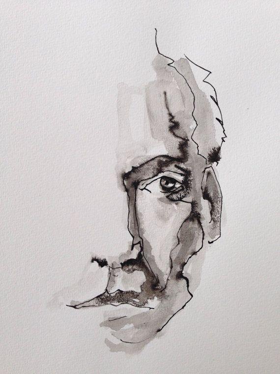 570x760 Ink Drawing, Watercolor Art,figurative Art,male Portrait,original