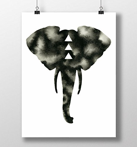 465x500 Black White Elephant Print Bull Elephant Watercolor