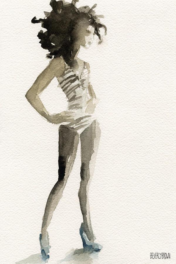 600x900 Black And White Stripes 3 Watercolor Fashion Woman Art Print