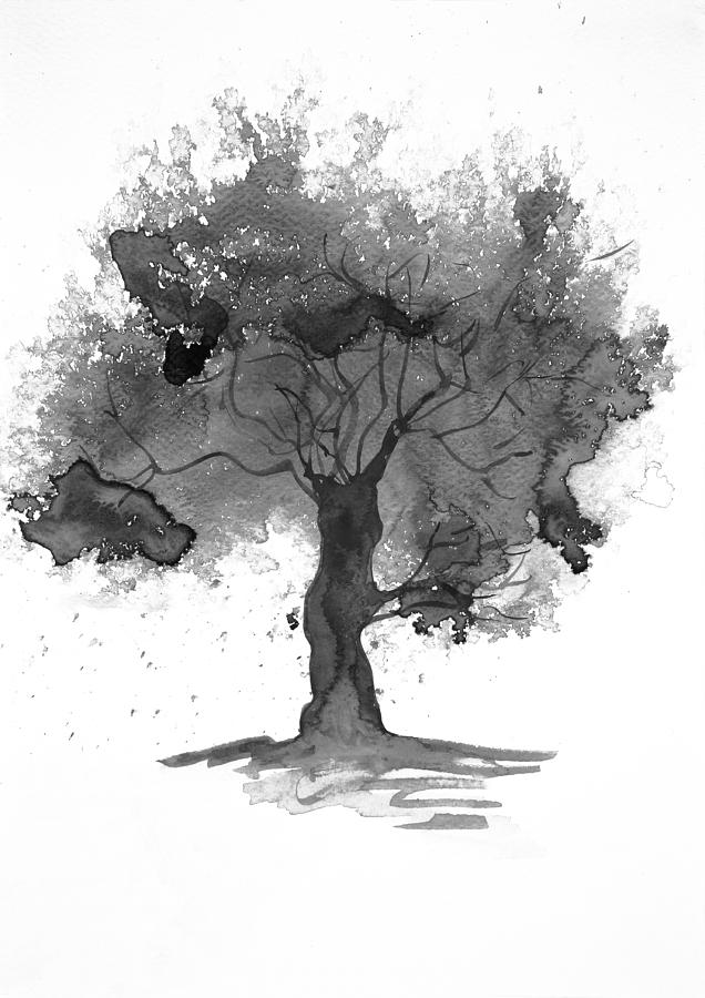 636x900 Black And White Tree Watercolour Painting By Steve And Jenni Thorp