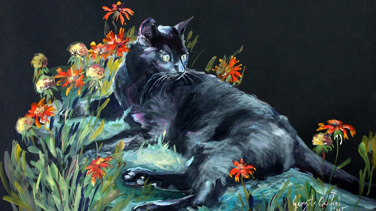 1280x720 How To Paint A Black Cat On Black Paper In Watercolor Timelapse