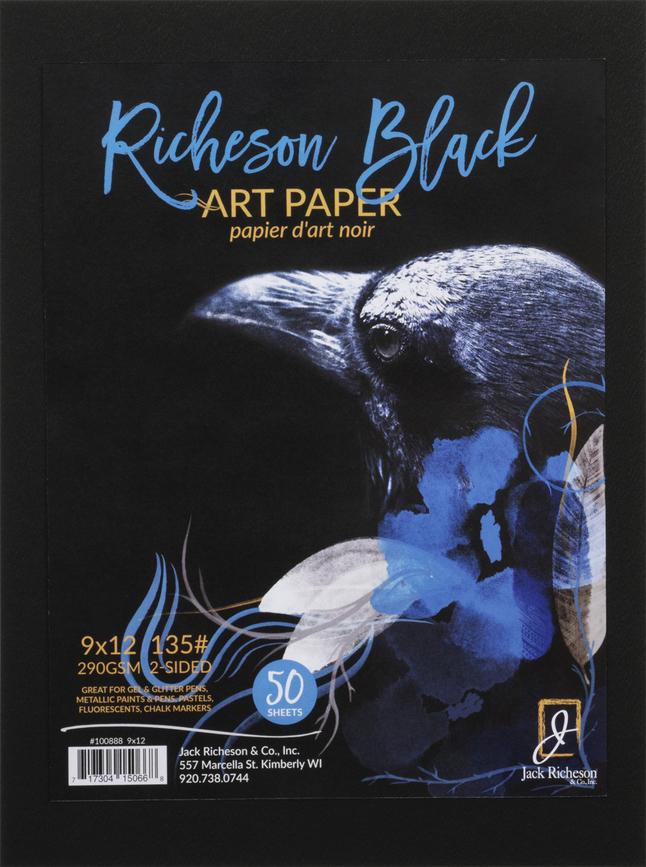 646x867 Jack Richeson Black Watercolor Paper, 135 Lb, 9 X 12, 50 Sheets
