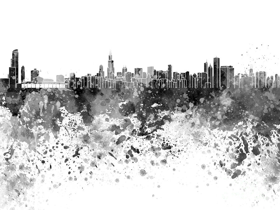 900x675 Chicago Skyline In Black Watercolor On White Background Painting