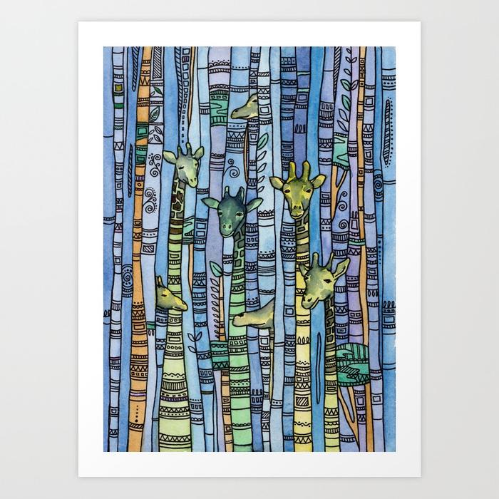 Blue Giraffe Watercolor