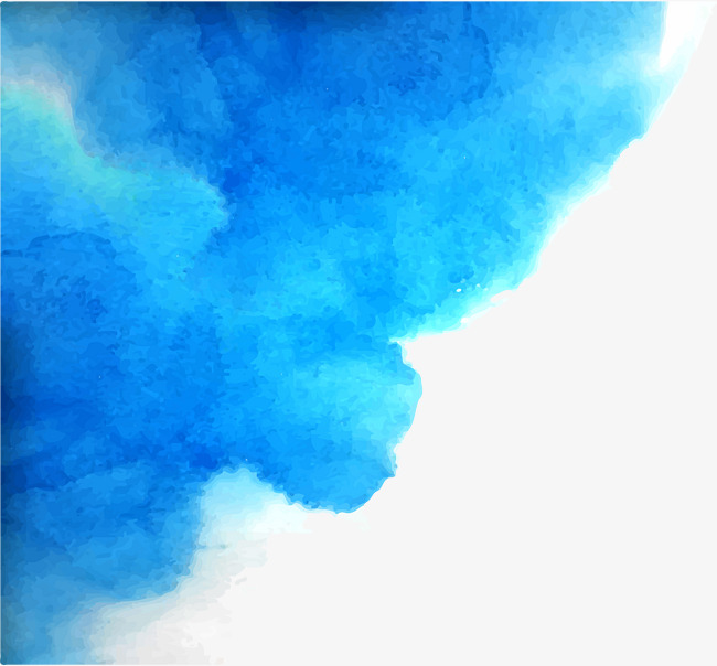 650x604 Blue Watercolor Blooming Borders, Blue Vector, Watercolor Vector