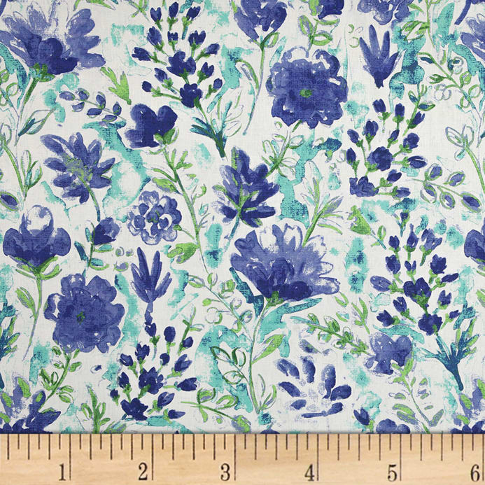 Blue Watercolor Fabric