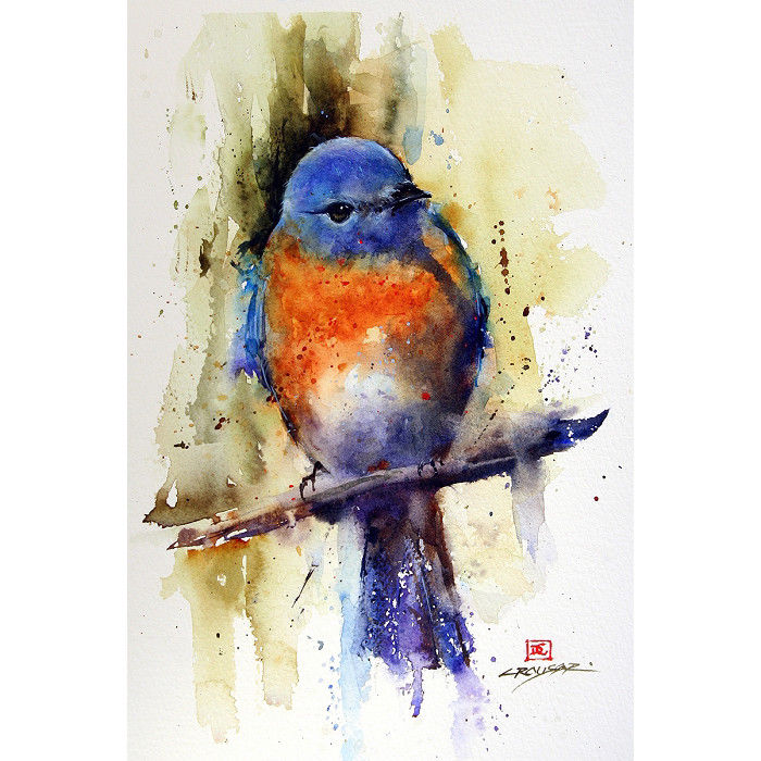 700x700 New East Bluebird Limited Edition Signed Amp Matted Watercolor Art