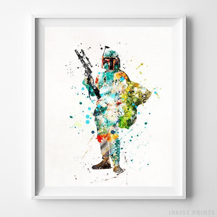 699x699 Boba Fett Star Wars Wall Art Watercolor Poster Dorm Wall Art Kids