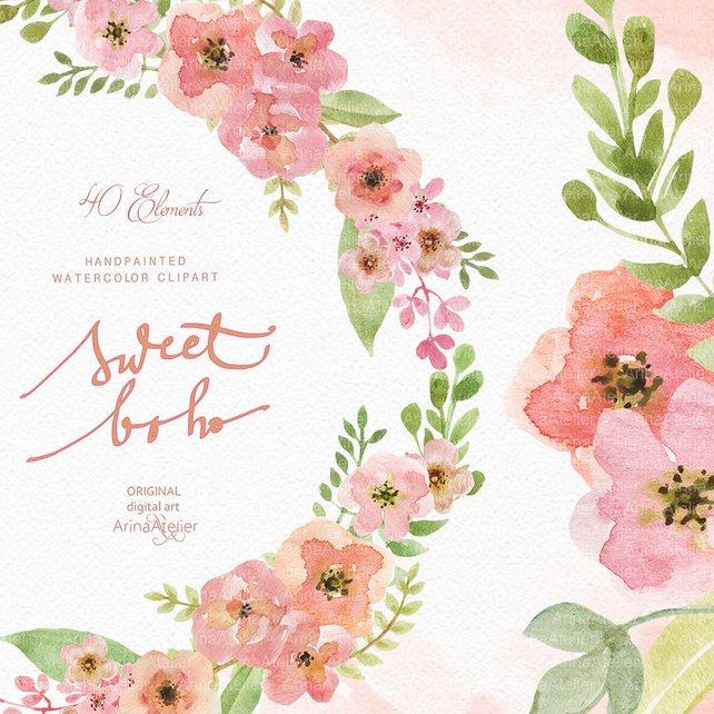 642x642 Sweet Boho Watercolor Clipart Boho Flowers Clipart Wedding Etsy