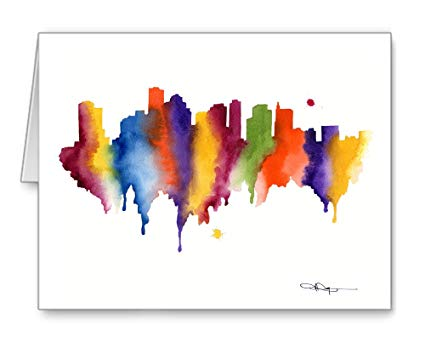 Boston Skyline Watercolor
