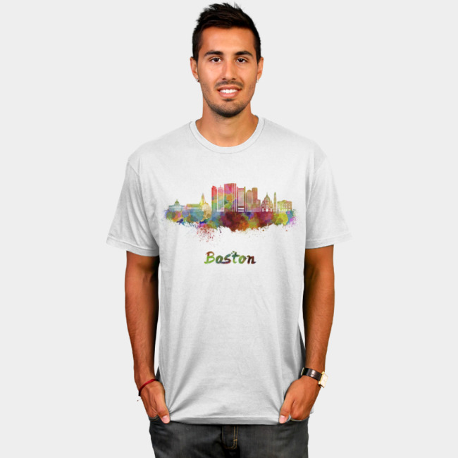 650x650 Boston Skyline In Watercolor Splatters T Shirt By Paulrommer