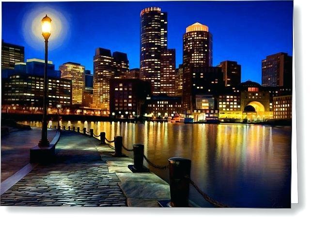 646x470 Boston Skyline Painting Watercolor Print City Infinitegames