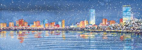 465x165 Boston Skyline Winter, Panoramic Massachusetts Bay Trading Company