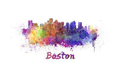 400x267 Boston Skyline In Watercolor Art Print By Paulrommer