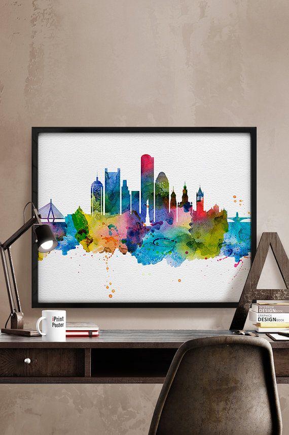 570x859 Boston Art Print, Boston Poster, Boston Skyline Watercolour Print