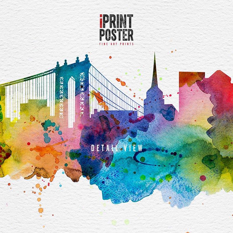 800x800 Boston Skyline Art Print Colourful Watercolour