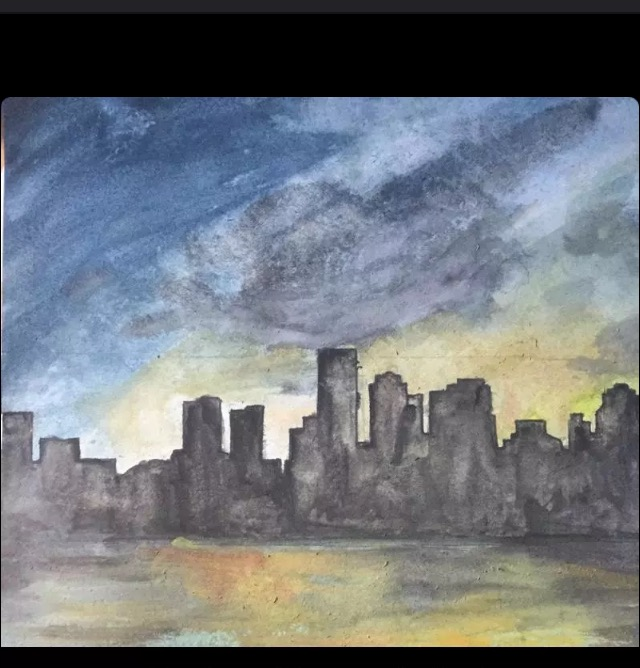 640x668 Boston Skyline Watercolor!