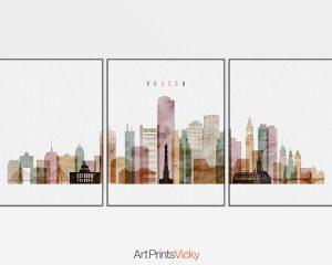 300x240 Boston Watercolor 1 Skyline Set Of 3 Prints Artprintsvicky