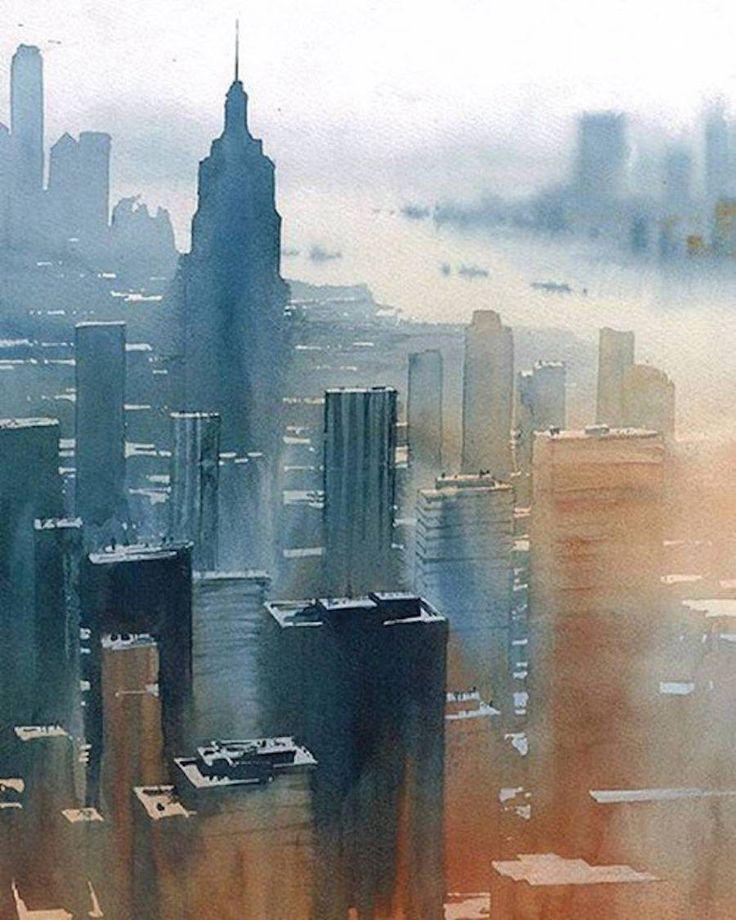 736x920 Cityscape Watercolor Boston Skyline Canvas Print Canvas Art By