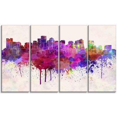 400x400 Designart Boston Skyline Cityscape 4 Piece Painting Print On