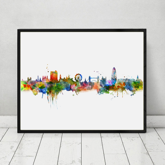 640x640 London Skyline City Poster Watercolor Painting London Wall Hanging