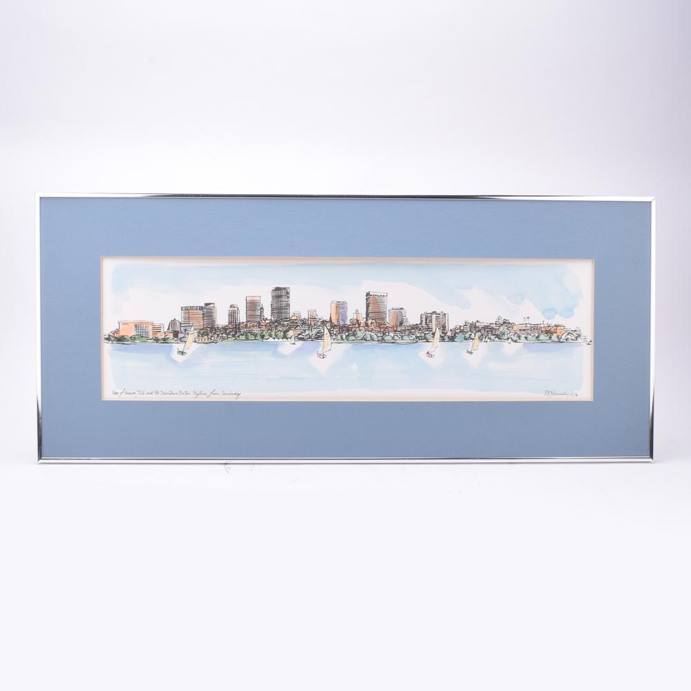 1000x1000 Robert E. Kennedy Watercolor On Board Boston Skyline Ebth