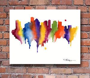 300x260 Boston Skyline Abstract Watercolor Painting Art Print By Artist Dj