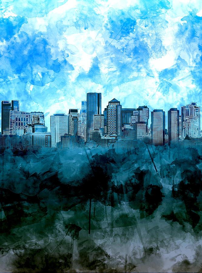 666x900 Boston Skyline Blue Watercolor Painting By Bekim Art
