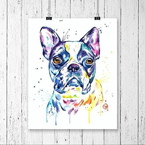 500x500 Boston Terrier Print, Dog Print, Dog Watercolour, Dog