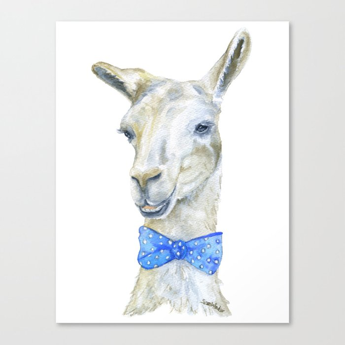 700x700 Llama With A Bow Tie Watercolor Canvas Print By Susanwindsor