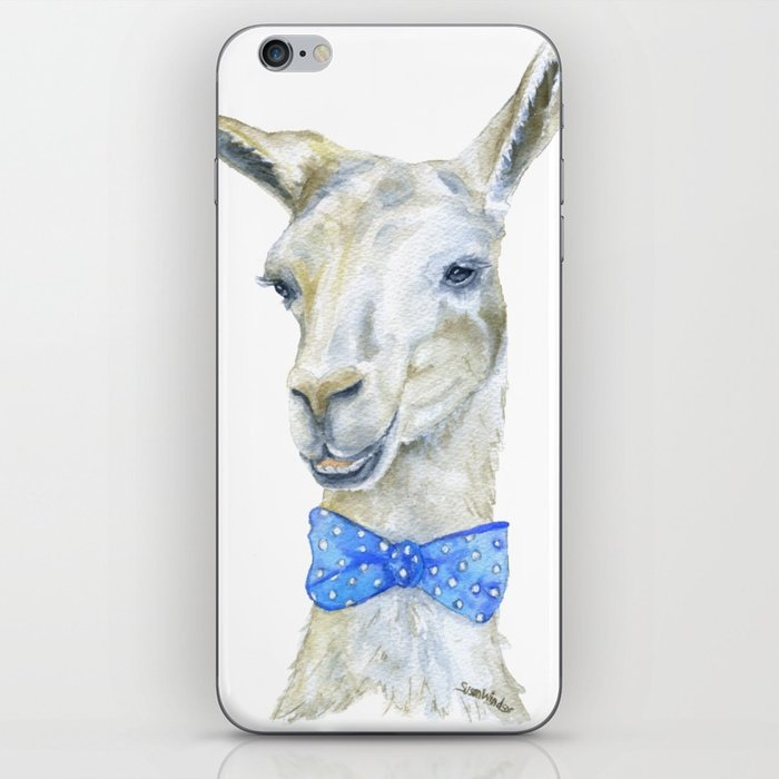 700x700 Llama With A Bow Tie Watercolor Iphone Skin By Susanwindsor Society6