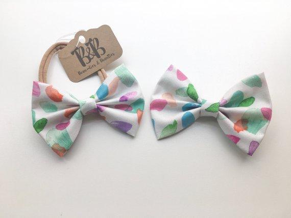 570x428 Spring Polka Dot Hair Bow Spring Bow Tie Watercolor Bow