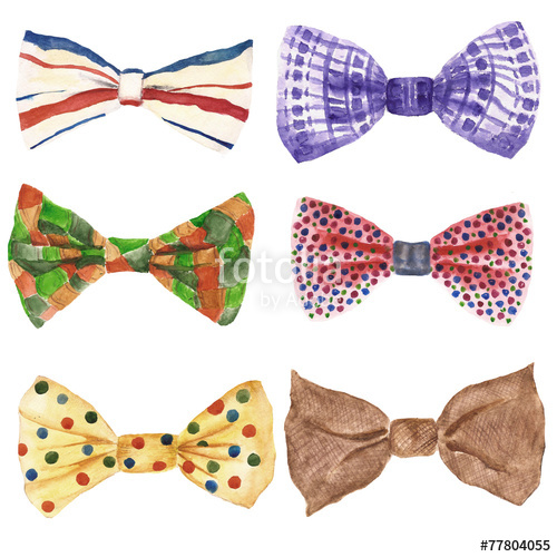 500x500 Watercolor Illustration With Bow Tie. Fashion Background Stock
