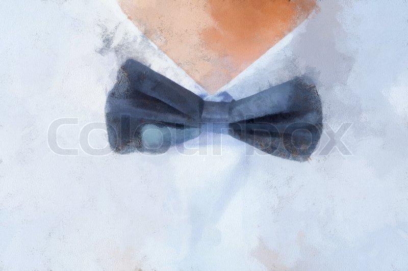 800x532 Watercolor Painting The Bow Tie Closeup Horizontal Shot Stock