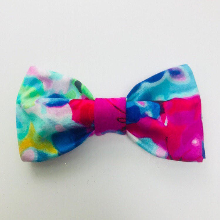 750x750 Bright Floral Watercolor Hair Bow Or Dog Bow Tie For 1 1.5 Dog Collar