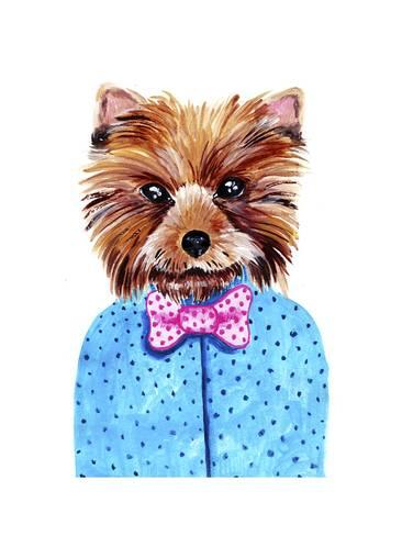 366x488 Cute Watercolor Yorkshire Terrier Portrait With Bow Tie. Formal
