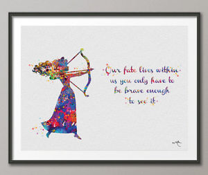 300x253 Brave Inspired Merida Disney Princess Quote Watercolor Print Home